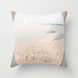 Pastel Plane Window View Photo   Summer Holiday Dubai Air Art Print   Adventure Travel Photography Throw Pillow
