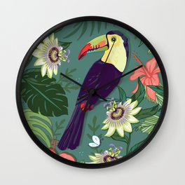 Toucan and Passion Flowers Wall Clock