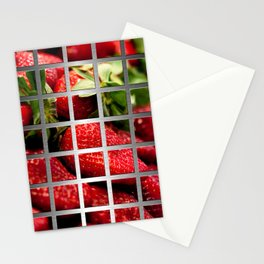 Strawberries & Square Grid Collage Metallic Stationery Cards