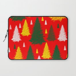 green gold silver Christmas trees on red background Laptop Sleeve