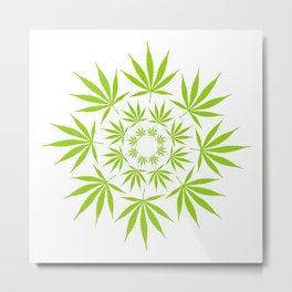 Cannabis Leaf Circle (White) Metal Print