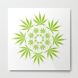Cannabis Leaf Circle Cool Modern Graphic Art Illustration Metal Print