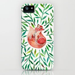 Woodland Fox – Green Leaves iPhone Case