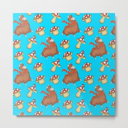 Cute happy llamas with warm scarves and funny whimsical little mushrooms seamless pattern design Metal Print