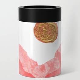 Red watercolor abstract mountains and moon Can Cooler