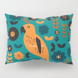 Parrot and flowers Pillow Sham