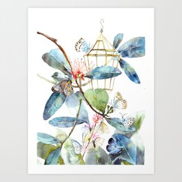 Butterfly Home, Blue and Green Watercolor Leaves, Tropical Plants Art Print