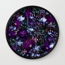Deep Floral Chaos blue & violet Wall Clock