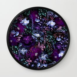 Deep Floral Chaos blue & violet Wall Clock