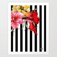 flora Art Prints featuring FLORA BOTANICA | stripes by Cheryl Daniels