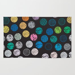 Polka Dots Sketch Colorful Pattern Rug