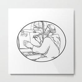 Monastic Monk Writing Illuminated Manuscript Drawing Black and White Metal Print