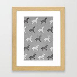Origami Unicorn Grey Framed Art Print