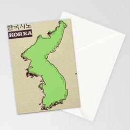 Korean map vintage travel poster. Stationery Cards