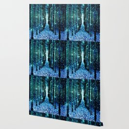 Magical Forest Teal Turquoise Wallpaper