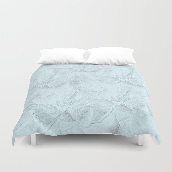Delicate Mint Green Floral Abstract Duvet Cover