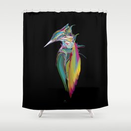 Kingfisher 1f. Full color on black background - (Red eyes series) Shower Curtain
