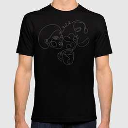Tea lovers outline matching couple T-shirt