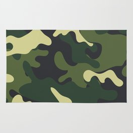 Army Green Camouflage Camo Pattern Rug