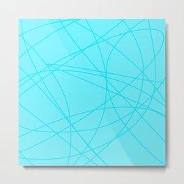 Spring Blue Lines Pattern Metal Print