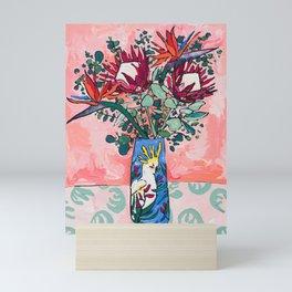 Cockatoo Vase on Painterly Pink Mini Art Print