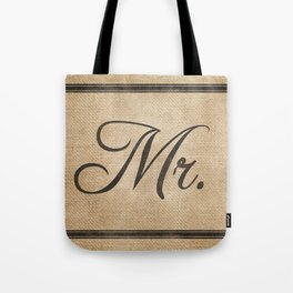 Mr Groom Throw Pillow Burlap  Tote Bag