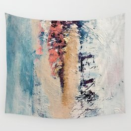 Artemis: A pretty, minimal, abstract mixed media piece in blue, gold, pink, purple, and white Wall Tapestry