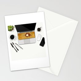 Waffle Laptop Computer Flat Lay Stationery Cards