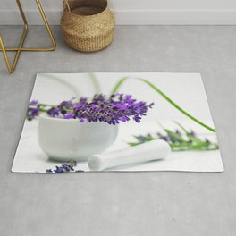 Lavender still life for pharmacies or curative practitioners Rug