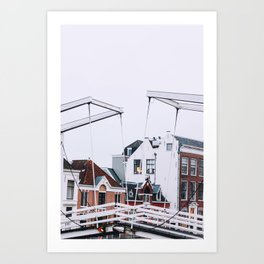 Iconic bridge and canal houses of Haarlem in winter | Haarlem historical city, the Netherlands | Urban travel photography Art Print