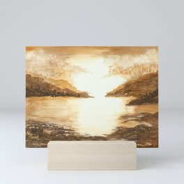 Golden Morn, Watercolor Beach Art Mini Art Print