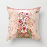 marie antoinette Throw Pillows featuring Marie-Antoinette by Minasmoke