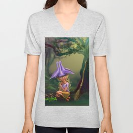 The Aquilegia witch by Dreamingsenga Unisex V-Neck