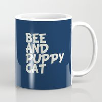 puppycat Mugs featuring bee and puppycat retro movie poster by Eva Puyal