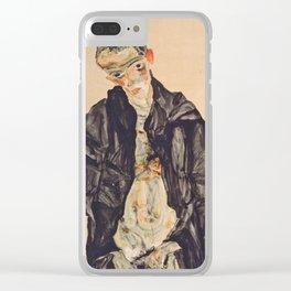 "Egon Schiele ""Selbstbildnis als Halbakt in schwarzer Jacke (Self-portrait in a black jack)"" Clear iPhone Case"