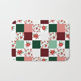 Plaid quilt pattern outdoors nature forest christmas holidays gifts Bath Mat