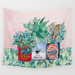 Jungle Botanical in Colorful Cans on Pink - Still Life Wall Tapestry