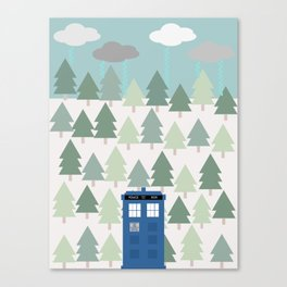 TARDIS lands in the Pacific Northwest Pine Tree Forest - Oregon, Washington, Portland, PDX, Seattle Canvas Print