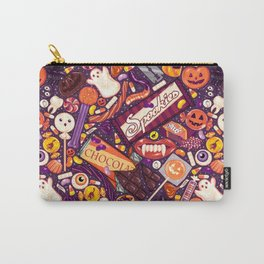 Creepy Halloween Candy on Purple Carry-All Pouch