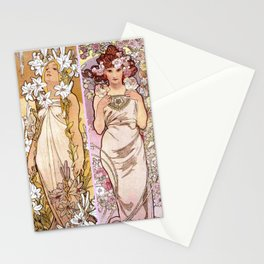 """Alfons Mucha, """" four flowers """" Stationery Cards"""