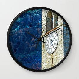 Bell tower in the Alps Wall Clock