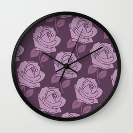 Big Pink Rose Pattern on Plum Wall Clock