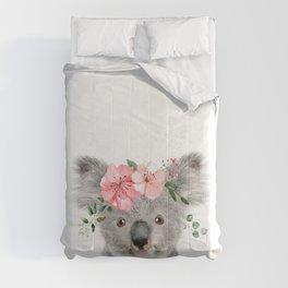 Baby Koala with Flower Crown Comforters