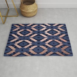 Bohemian Rose Gold Navy Blue Ikat Pattern This modern and chic bohemian pattern is perfect for a cla Rug