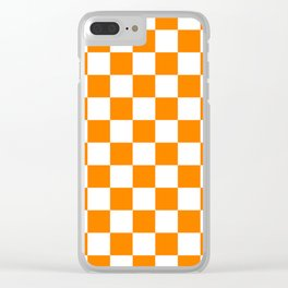 Checkered - White and Orange Clear iPhone Case