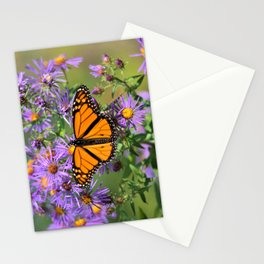 Monarch Butterfly on Wild Aster Flowers Stationery Cards