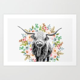 Cutest Highland Cow With Flowers Art Print
