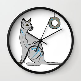 Cat Playing with Bagel Wall Clock