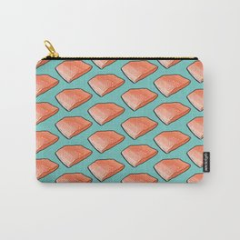 Salmon Fish Fillet Fiesta, Seafood on Teal Carry-All Pouch