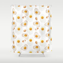 Broken and fried eggs. Shower Curtain